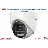 Hikvision - DS-2CE72DFT-F - 2 Мегапикселова 4 в 1, HD-TVI / AHD / HD-CVI / CVBS Камера за Външен Монтаж с Вградено IR Осветление до 20 м (ColorVu), 25 к/с @ 1080P, Обектив 3.6 мм