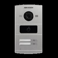 Hikvision - DS-KV8202-IM - Двупостов Лицев Панел за IP Видеодомофонни Системи Hikvision, Камера 1.3 MP, Обектив 120°, Вграден Четец за Карти