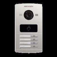 Hikvision - DS-KV8402-IM - Четирипостов Лицев Панел за IP Видеодомофонни Системи Hikvision, Камера 1.3 MP, Обектив 120°, Вграден Четец за Карти
