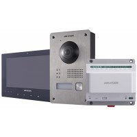 Hikvision - DS-KIS701 - Комплект Еднопостова Двупроводна Видеодомофонна Система, Камера 1080P, 2 MP, Обектив 155°, IP65, IR осветление, Hik-Connect