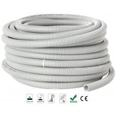 Courbi - Domo - Гъвкава Гофрирана Тръба, Ø 40 мм, 25 м, U-PVC, 750N, Сива, Самогасяща се, UV Защита
