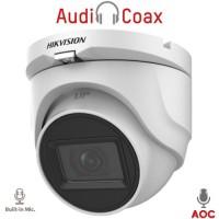 Hikvision - DS-2CE76H0T-ITMFS - 5 MP 4 в 1, HD-TVI / HDCVI / AHD / CVBS Камера с Осветление до 30 м, 20 к/с @ 5 MP, Обектив 2.8 мм, Микрофон, (AoC) Audio Over Coaxial