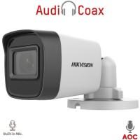 Hikvision - DS-2CE16H0T-ITFS - 5 Мегапикселова 4 в 1, HD-TVI / AHD / HD-CVI / CVBS Камера за Външен Монтаж с Вградено IR Осветление до 20 м, 20 к/с @ 5 MP, Обектив 2.8 мм, Микрофон, (AoC) Audio Over Coaxial