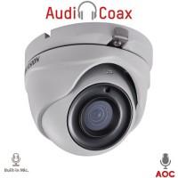 Hikvision - DS-2CE56H0T-ITMFS - 5 Мегапикселова 4 в 1, HD-TVI / AHD / HD-CVI / CVBS Камера за Външен Монтаж с Вградено IR Осветление до 20 м, 20 к/с @ 5 MP, Обектив 2.8 мм, Микрофон, (AoC) Audio Over Coaxial